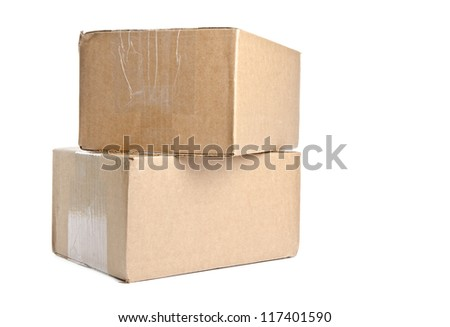 Two Brown Cardboard Boxes Isolated on White