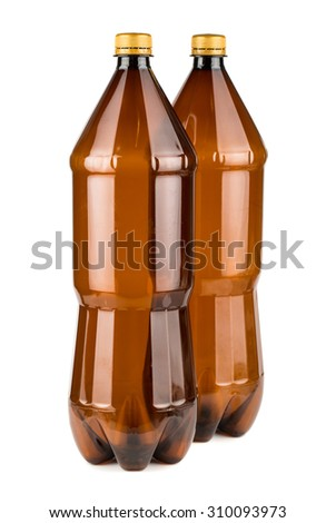 Two brown empty plastic bottles isolated on white background