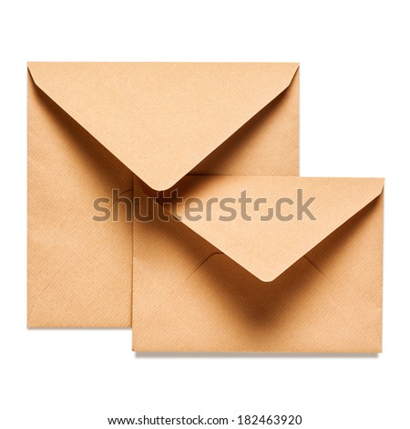 Two brown envelopes isolated on white background clipping path included