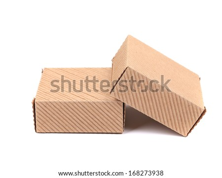 Two brown gift boxes. Isolated on a white background.