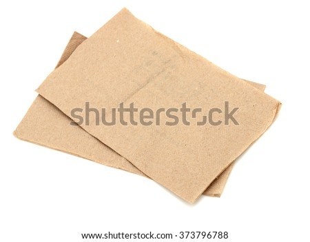 two brown napkins isolate on white (clipping path)