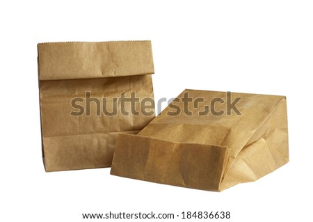 Two Brown Paper Bag Lunch on white background.