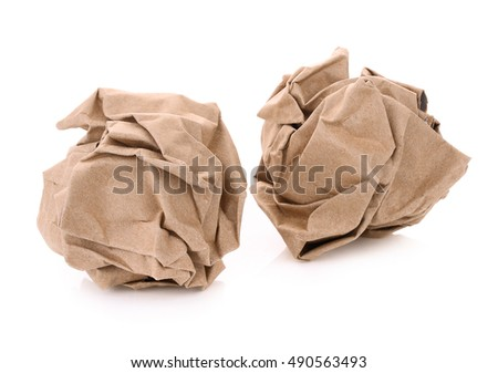 two brown paper ball isolatde on white