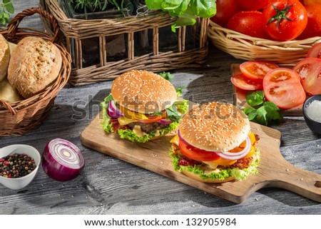 Two burgers made �¢??�¢??from fresh vegetables