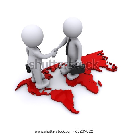two businesmen standing on world map - stock photo