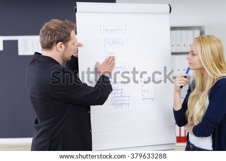 Two business executives in a meeting standing discussing information on a flip chart with serious expressions with focus to a young blond woman
