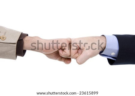 Two business fists, isolated on white background