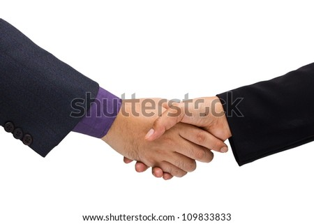 Two business hand shaking isolated on white background
