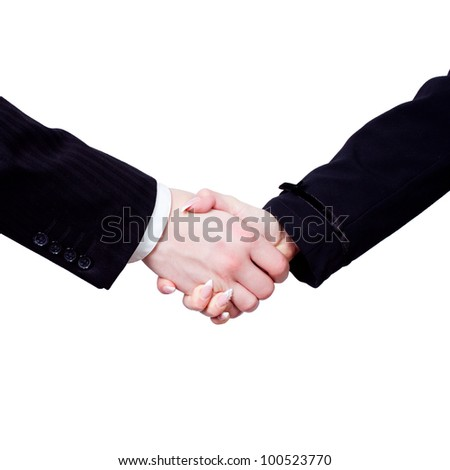two business hands handshake isolated on white