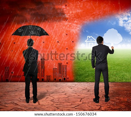 Two business man look and drawing future - stock photo