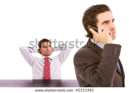 Two business man on a office, isolated on white background