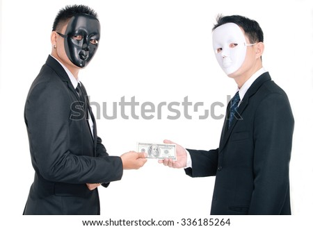 Two business man white masks and black masks, isolated on white, graft - stock photo