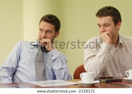 Two business men at the informal  meeting - casual - stock photo