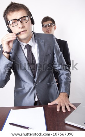 Two business men at the reception. - stock photo