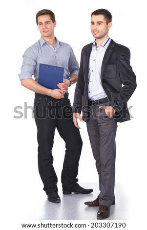 Two business men holding contract folder isolated on white