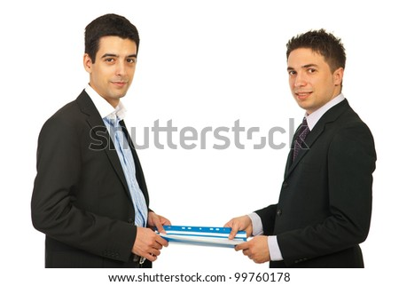Two business men holding contract folder isolated on white background - stock photo