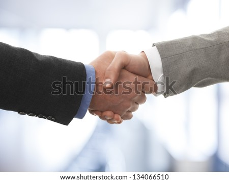 Two business men shaking hands - stock photo