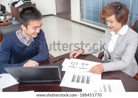 Two business people analysis diagram is discussed in this paper - stock photo