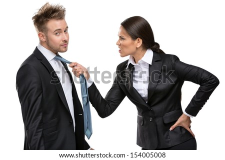 Two business people debate and fight, isolated on white. Concept of competition and job competitive promotion - stock photo