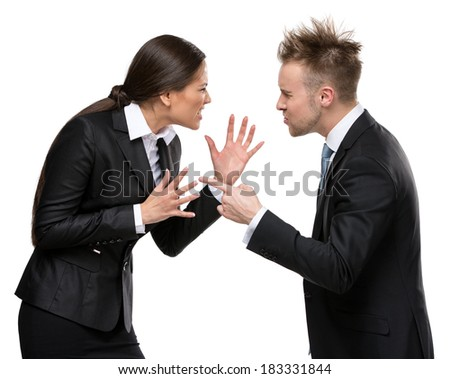 Two business people debate, isolated on white. Concept of competition and job competitive promotion - stock photo