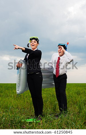 two business people going to vacation. concept - stock photo