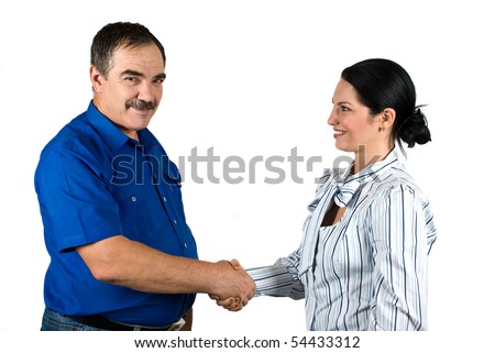 Two business people mature businessman and young businesswoman  shaking hands and make a deal isolated on white background - stock photo
