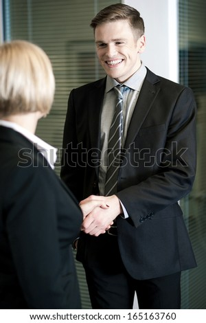 Two business people shaking hands - stock photo