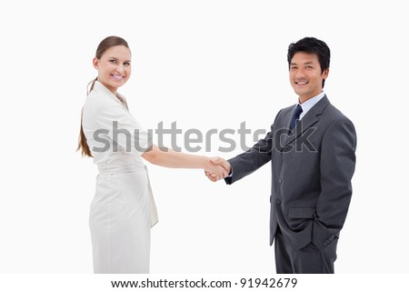 Two business people shaking hands against a white background