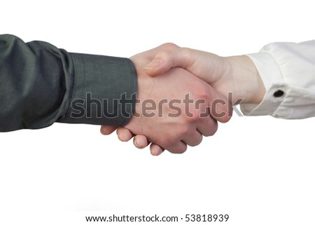 Two business people shaking there hands - stock photo