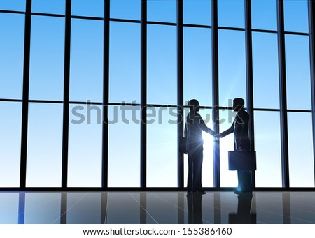 Two business  shake hand  silhouettes rendered with computer graphic 3d - stock photo