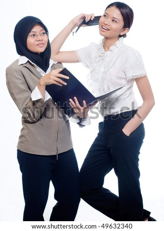 two business woman - stock photo