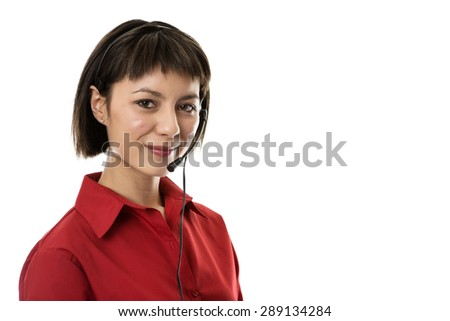 Two business woman wearing headset working hard to make you happy