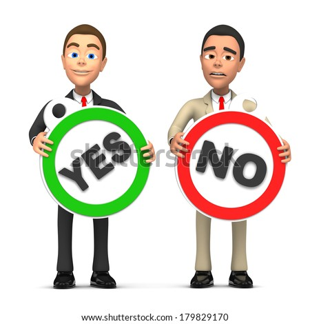 two businessman and consent refusal - stock photo