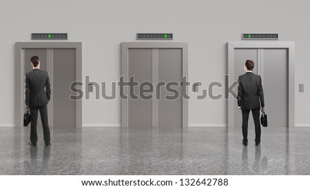 two businessman and elevator with closed doors - stock photo