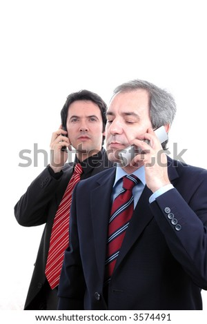 two businessman at cellphone