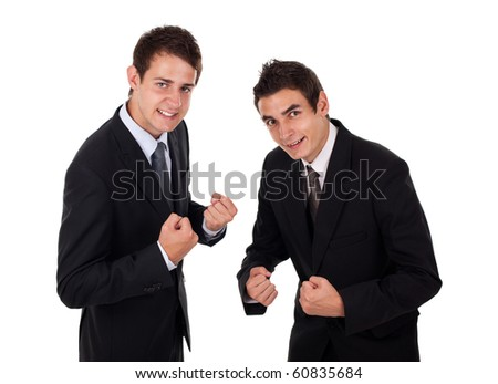 Two businessman enjoying succes, isolated on white