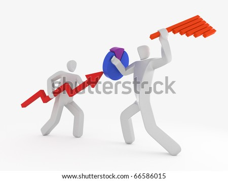 two businessman fighting using pie-chart and bar graph - stock photo