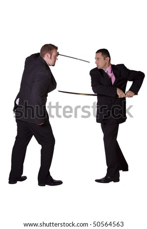 Two businessman fighting with swords - Isolated background