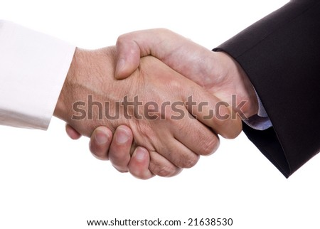 two businessman handshake deal isolated on white background