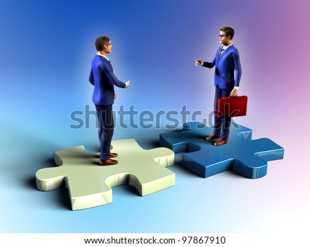 Two businessman having a meeting while standing on some puzzle pieces. Digital illustration.