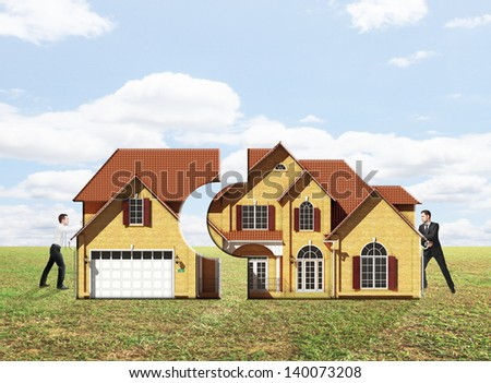 two businessman pushing house on nature background