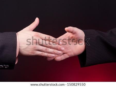 two businessman ready to handshake - stock photo