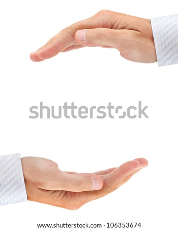 Two businessman's hands with copyspace between them isolated on white background