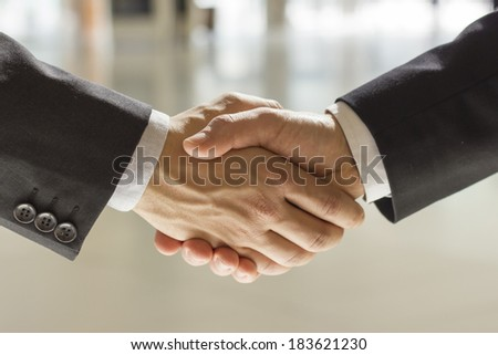 two businessman shaking hands  bright background - stock photo