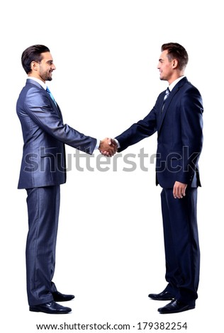Two businessman shaking hands, isolated on white - stock photo