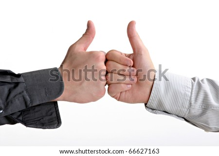 two businessman show yes sign - stock photo