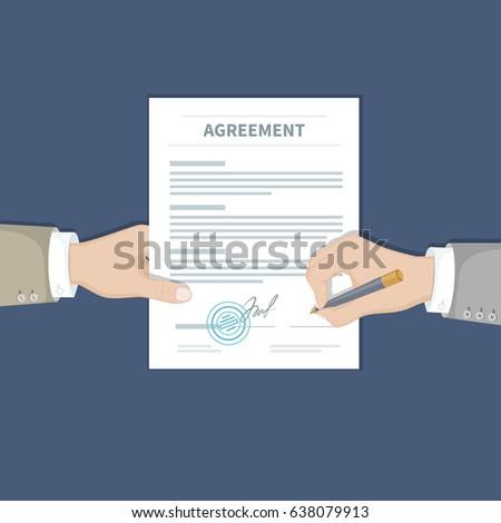 Two businessman signing an agreement. One hand holds the document and the other signs. Successful financial partnership, teamwork concept. Conclusion of a contract. Top view.