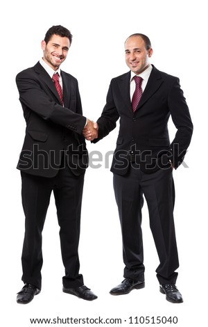 Two Businessman standing on a white background