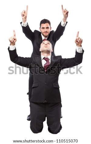Two Businessman standing on a white background (one in on knee)