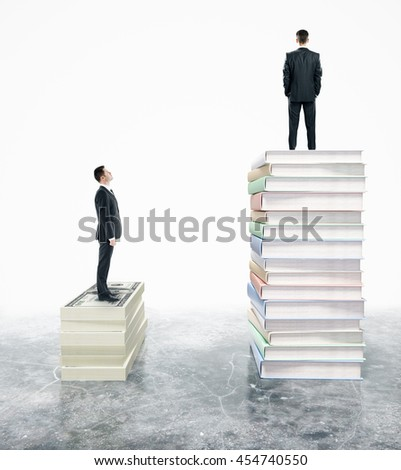 Two businessman standing on stack of books. 3D Rendering